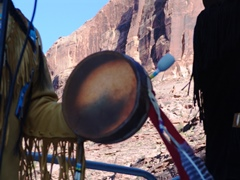 As Gray Boy reflects new energy light through is Navajo hand drum, Evan Haworth discusses the drum as sipapu, representing the fount of all creation - Click for larger image (http://jamesmcgillis.com)