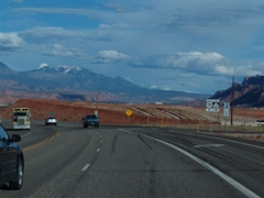 In May 2013, a trip from Arches National Park to Moab allowed motorists to see part of the town over the diminishing Moab Pile - Click for larger image (http://jamesmcgillis.com)