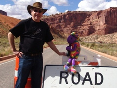 Moab Jim and Plush Kokopelli at the closed entry to Arches National Park in October 2013 - Click for larger image (http://jamesmcgillis.com)