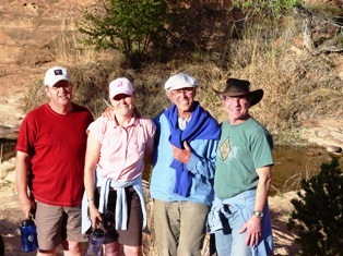 Photo of Terry (left), Tiger, Leo and author, Jim McGillis (right) at Millcreek Canyon, Moab, Utah - Click for larger Image. (http://jamesmcgillis.com)