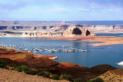 This 2014 view of Lake Powell from Wahweap Overlook shows the dry land of Antelope Island, where only two decades ago, water covered that whole area - Click for larger image (http://jamesmcgillis.com)