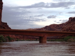 The new U.S. Highway 191 Colorado River Bridge shows high water at Moab, Utah - Click for larger image (https://jamesmcgillis.com)