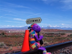 Plush Kokopelli and Coney the Traffic Cone waiting for the Moab Burro Crane Crane in October 2017 - Click for larger image (http://jamesmcgillis.com)