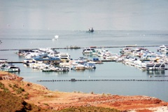 In May 2014, Lake Powell's Wahweap Marina, Near Page, Arizona lay far below its historical elevation - Click for larger image (https://jamesmcgillis.com)