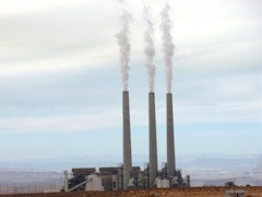 At 775 feet tall, the flue gas stacks at Navajo Generating Plant near Page, Arizona push coal-fired effluent into the upper atmosphere, exacerbating the heat-island over the Four Corners Region - Click for larger image (http://jamesmcgillis.com)