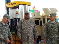 Near Fort Irwin, California, three Army Reservists enjoy a rest break before beginning their training - Click for larger image (https://jamesmcgillis.com)