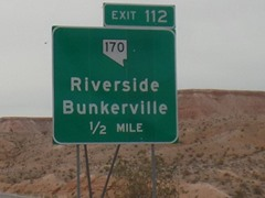 Interstate I-15 Exit 112 leads to Bunkerville, south of Mesquite, Nevada - Click for larger image (http://jamesmcgillis.com)