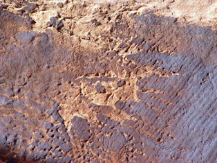 Two mice jumping from a cliff?  Eroded desert varnish? Mill Creek Canyon, Moab, Utah - Click for larger image. (http://jamesmcgillis.com)