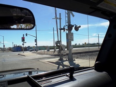 Poorly marked and generally worn out, this is a daytime view of what truck driver Jose Sanchez Ramirez saw before he turned on to the railroad tracks at Rice Ave. and Fifth Street in Oxnard, California - Click for larger image (http://jamesmcgillis.com)