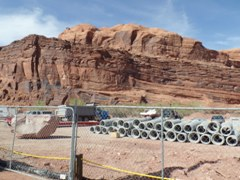 After destroying all vegetation at old Lions Park in 2015, the Moab Meanies turned it into a temporary construction yard - Click for larger image (http://jamesmcgillis.com)