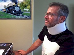 Wearing his custom-made exoskeleton and a neck brace, Marc Gerstel continues his recuperation from a February 2015 Metrolink train collision at home in Oxnard, California - Click for larger image (https://jamesmcgillis.com)