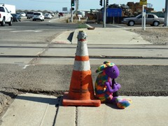 Plush Kokopelli sits with Caltrans Coney, hoping that he can stay at the Fifth and Rice railroad grade crossing and save others from the fate of Metrolink Train No. 102 in February 2015 - Click for larger image (http://jamesmcgillis.com)