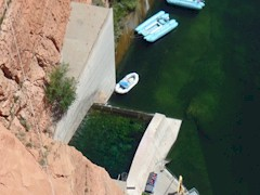 Cold, sterile water emanating from Lake Powell and Glen Canyon Dam supports green fronded algae and not much more  - Click for larger image (http://jamesmcgillis.com)