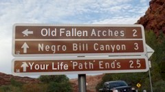 After the Moab BLM Field Office vaporized the history of Negro Bill, many road signs in the area spontaneously changed - Click for larger image (http://jamesmcgillis.com)