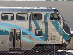Partially destroyed in the February 2015 Oxnard, California collision, Metrolink Cabcar No. 645 languishes on a spur in Moorpark - Click for larger image (http://jamesmcgillis.com)