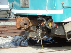 "The ""pilot"", or plow on Metrolink Cabcar No. 645 went missing during the 2015 Oxnard collision, possibly contributing to its derailment and the subsequent death of Senior Engineer Glenn Steele - Click for larger image (http://jamesmcgillis.com)"