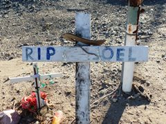 Small crosses mark the deaths of at least three previous collision victims at the Fifth St. and Rice Ave. grade crossing in Oxnard, California - Click for larger image (http://jamesmcgillis.com)