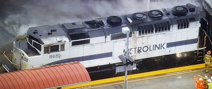 A fire aboard Metrolink locomotive No. 865 in March 2016 may have put yet another poorly maintained Metrolink locomotive permanently out of service - Click for larger image (http://jamesmcgillis.com)