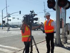 At Fifth Street and Rice Ave in Oxnard, California a Metrolink representative discusses safety at that deadly grade crossing - Click for larger image (http://jamesmcgillis.com)