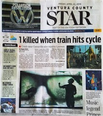 The April 22, 2016 Ventura County Star newspaper chronicled a fatal  motorcycle/train collision at Fifth St. and Las Posas Rd. one day earlier - Click for larger image (http://jamesmcgillis.com)