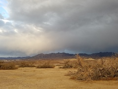 Near Furnace Creek Campground, Death Valley National Park, a rare rain shower falls on the Amargosa Range - Click for larger image (http://jamesmcgillis.com)