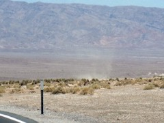 "A dry ""Dust Devil"" rotates counter-clockwise near the Devil's Cornfield in Death Valley National Park - Click for larger image (http://jamesmcgillis.com)"