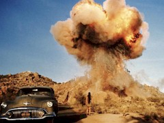 In the 1970 film, Zabriskie Point, an explosion wipes out a scenic house in the desert - Click for larger image (http://jamesmcgillis.com)