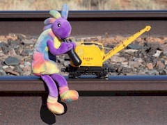 Plush Kokopelli is reunited with the now diminutive Moab Burro Crane in October 2017 - Click for larger image (http://jamesmcgillis.com)
