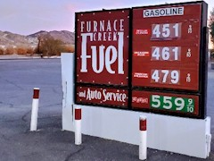 Compared to fuel stations outside of Death Valley National Park, gasoline and diesel fuel fetch a premium price - Click for larger image (https://jamesmcgillis.com)