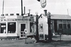 A 1935 image of the Robertson Service Station in Thompson Springs featured UTOCO Oil Products beer for sale, inside - Click for larger image (http://jamesmcgillis.com)