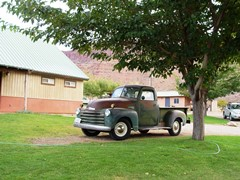 1950 Chevy 3100 truck at the Moab Rim Campark - Click for larger image (https://jamesmcgillis.com)