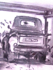 Sketch of a 1950 Chevrolet 3100 pickup truck, by Larry Rudolech - Click for larger image (http://jamesmcgillis.com)