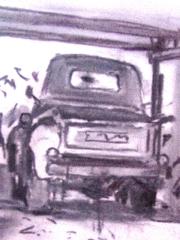 Sketch of a 1950 Chevrolet 3100 pickup truck, by Larry Rudolech - Click for larger image (https://jamesmcgillis.com)