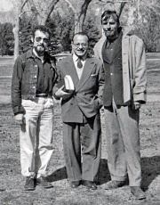 From left to right, Jim (Jimbo) Forrest, Prof. Alfredo Roggiano, Edward Abbey at the UNM Campus, January 1955 - Photo Credit Julian Palley - Click for larger image (http://jamesmcgillis.com)