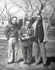Jerry (Julian) Palley, Dr. Alfredo Roggiano, Edward Abbey at the UNM Campus, January 1955 - Photo Credit Jimbo Forrest - Click for larger image (http://jamesmcgillis.com)