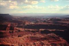 The long view of Canyonlands, from Dead Horse Point. Ektachrome slide courtesy of Dr. L.N. McGillis - Click for larger image (http://jamesmcgillis.com