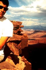 The author, Jim McGillis at Dead Horse Point in 1965. Kodak Ektachrome slide courtesy of Dr. L. N. McGillis - Click for larger image (http://jamesmcgillis.com)