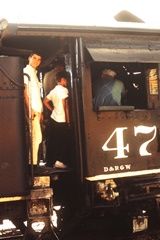 Author James McGillis waiting his turn to speak with Engineer Steve Connor in the cab of DRG&W Locomotive 478 in 1965 - Click for larger image (http://jamesmcgillis.com)