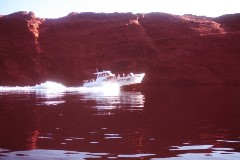 A forty-foot excursion boat powers past us on the way to Rainbow Bridge, Lake Powell, Utah in 1965 - Click for larger image (http://jamesmcgillis.com)