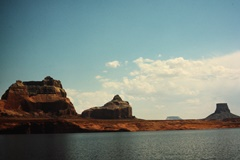 During a 1965 visit to Lake Powell, the author encountered the crystal clear air of the desert, unlike the current coal-fired haze that shrouds much of the Four Corners region - Click for larger image (http://jamesmcgillis.com)