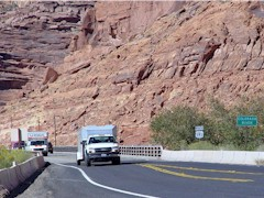 In 2008, traffic crosses the 1960's Colorado River highway bridge, heading for Moab, Utah - Click for larger image (http://jamesmcgillis.com)