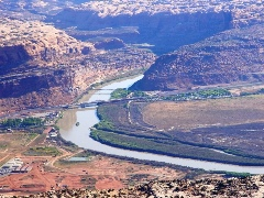 The Colorado River passes by Moab, with the Moab Pile on the left and the Matheson Wetlands on the Right - Click for larger image (http://jamesmcgillis.com)