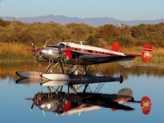 In quieter days, five-years ago, this classic Twin Beech float-plane visited Moabi Regional Park, near Needles, California - Click for larger image (http://jamesmcgillis.com)