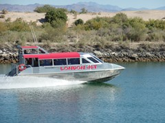 "The ""London Jet"" passenger boat approaches Moabi Regional Park near Needles, California - Click for larger image (http://jamesmcgillis.com)"
