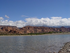 Ken's Lake, Moab, Utah, with a storm clearing in the La Sal Range above - Click for larger image (http://jamesmcgillis.com)