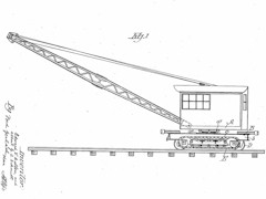 A 1929 patent application drawing of a Model 20 Cullen-Friestedt Burro Crane - Click for larger image (http://jamesmcgillis.com)