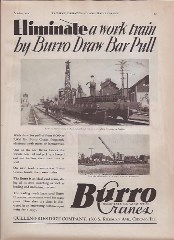 A 1930 ad for the Model 20 Burro Crane, touting its draw-bar pulling power, courtesy of the Orange Empire Railway Museum - Click for larger image (http://jamesmcgillis.com)