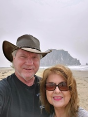 Jim McGillis and Carrie McCoy standing before a smokey sky at Morro Bay, summer 2020 - Click for larger image (http://jamesmcgillis.com)