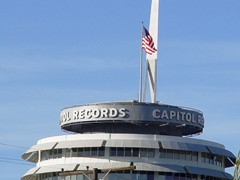 The top of the cylindrical Capitol Records Building, an icon of the skyline in Hollywood, California - Click for larger image (http://jamesmcgillis.com)