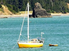 Cruising boat anchored at Port Orford, OR - Click for larger image (http://jamesmcgillis.com)